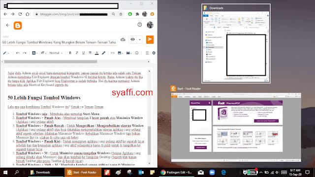 6. Untuk menempatkan aplikasi ke separuh layar kiri syaffi com