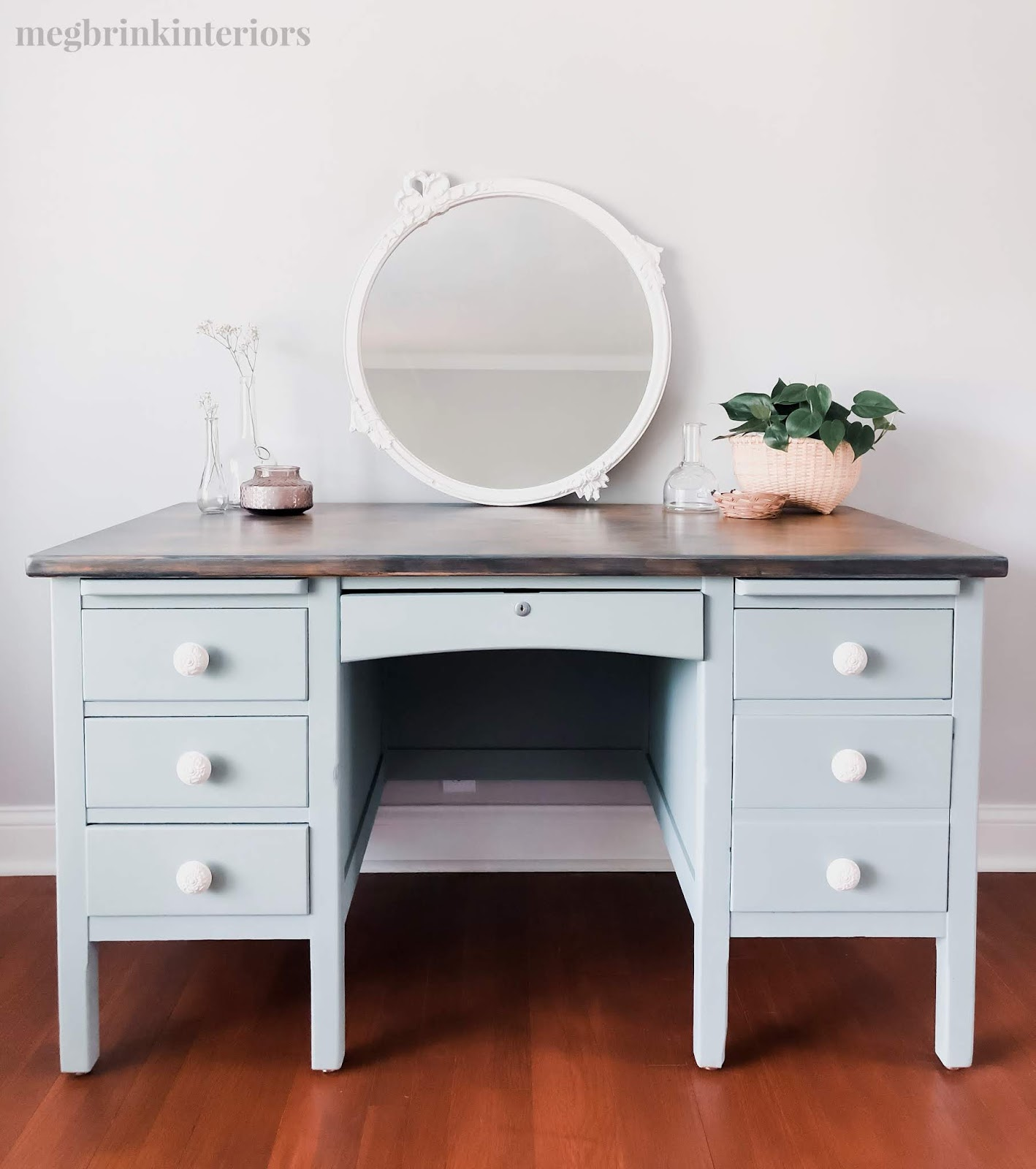 Come check out how I transformed this old vintage desk with a gorgeous dusty blue green color from Country Chic Paint!