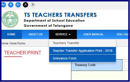 Print TS Teachers Transfers 2021 Submitted Application Form Download @transfers.cdse.telangana.gov.in/TSTT/Teachersprint.do