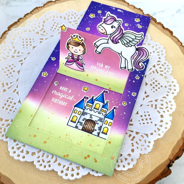 Sunny Studio Stamps: Prancing Pegasus Enchanted Sliding Window Dies Birthday Card by Ashley Ebben