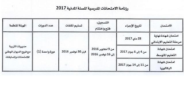 رزنامة الامتحانات المدرسية للسنة المدنية 2017