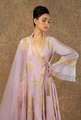 Manish Malhotra dress Lavender chanderi angraka front side