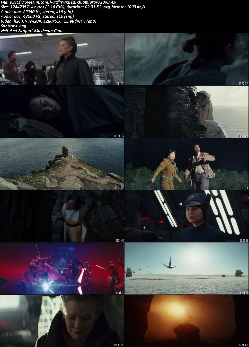 Star Wars The last Jedi 2017 300mb Dual Audio Hindi 480p bRRip Esubs