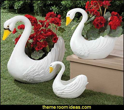Swan Planters Set of 3  garden decor ideas decorating the garden  - decorative garden accents -  Outdoor Decor - garden ornaments  - garden decorations - patio and garden decor -  novelty Yard & Garden decor  - fairy garden - Decorate the Patio - gifts for the home gardener  - Patio Decor - garden patio furniture - faux plants -
