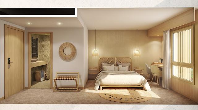Perspective 3D intérieure chambre d'hotel