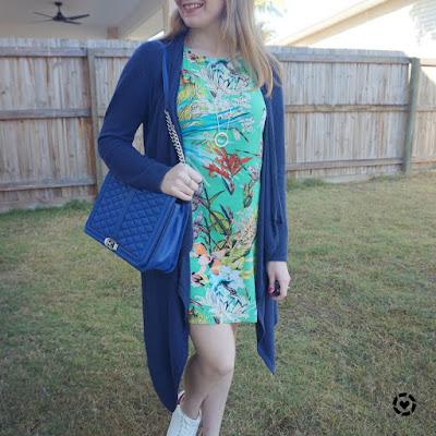floral tee dress with navy cardigan and cobalt rebecca minkoff jumbo love bag | awayfromblue Instagram