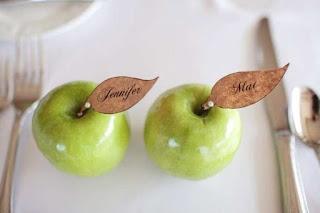 segnaposti fai da te con mela verde