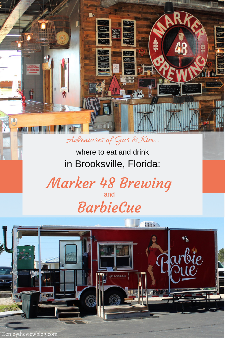 pinnable image with a photo of the BarbieCue food truck and the taproom at Marker 48 Brewing