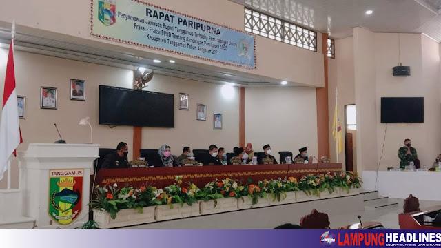 DPRD Gelar Paripurna Penyampaian Jawaban Bupati Tanggamus, Terhadap Pandangan Fraksi Tentang RAPBD-P Tahun 2021