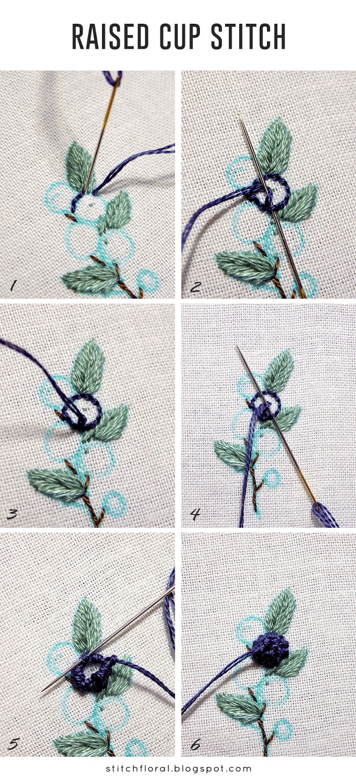 how to do raised cup stitch