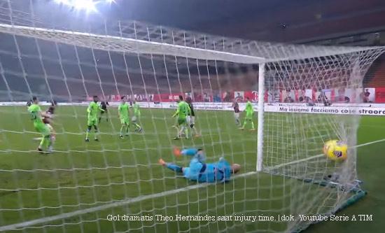 Gol Dramatis Theo Hernandez Pastikan Keunggulan Milan 3-2 atas Lazio
