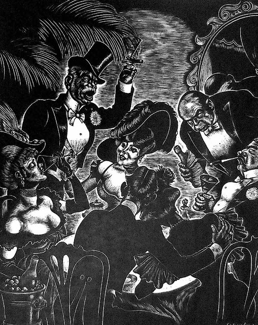 a Fritz Eichenberg illustration of partiers in expensive clothes