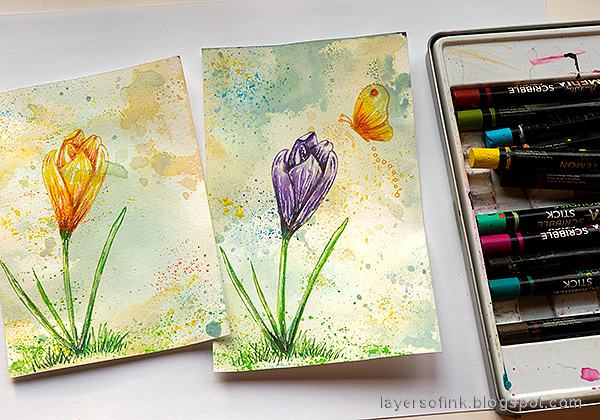 Layers of ink - Crocus in Watercolor and Pencil Tutorial by Anna-Karin Evaldsson. With Simon Says Stamp Thoughtful Flower stamp. Splatter with Scribble Sticks.