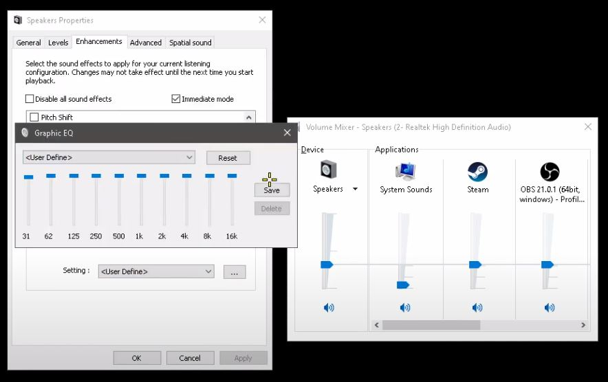 Equalizer settings in Windows 10.