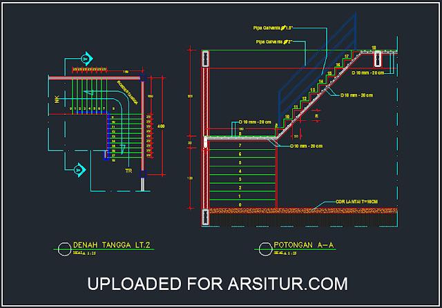 Detail Tangga Bentuk L - Contoh Gambar AutoCad