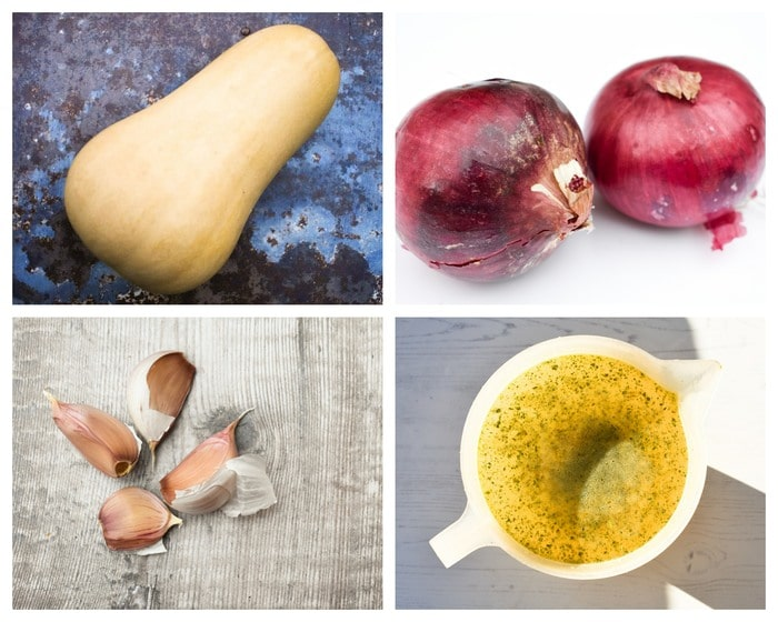 Ingredients to make butternut squash soup