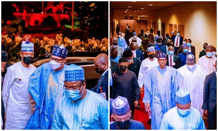 Buhari removes his mask in public, violating COVID-19 regulations, according to the Delta variant.