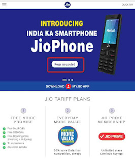 Keep Me Posted appears on jio Official website