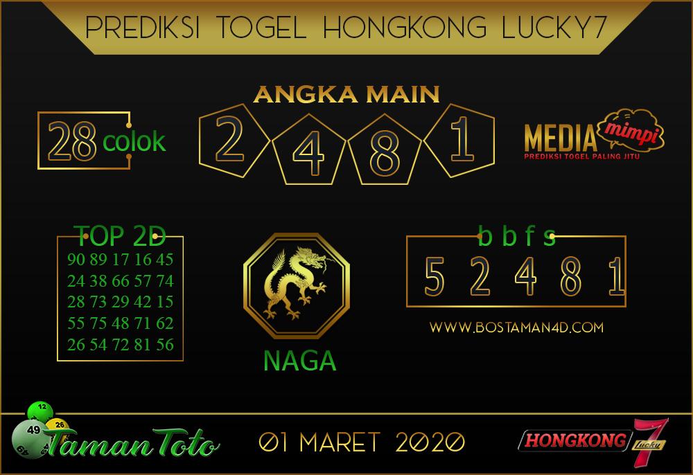 Prediksi Togel HONGKONG LUCKY 7 TAMAN TOTO 01 MARET 2020