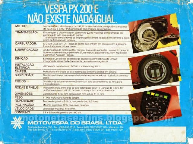 ficha+tecnica+vespa - Garagem do Colecionador: VESPA - PX200E 1986