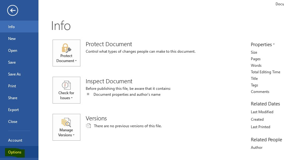 Menu Options pada Microsoft Word