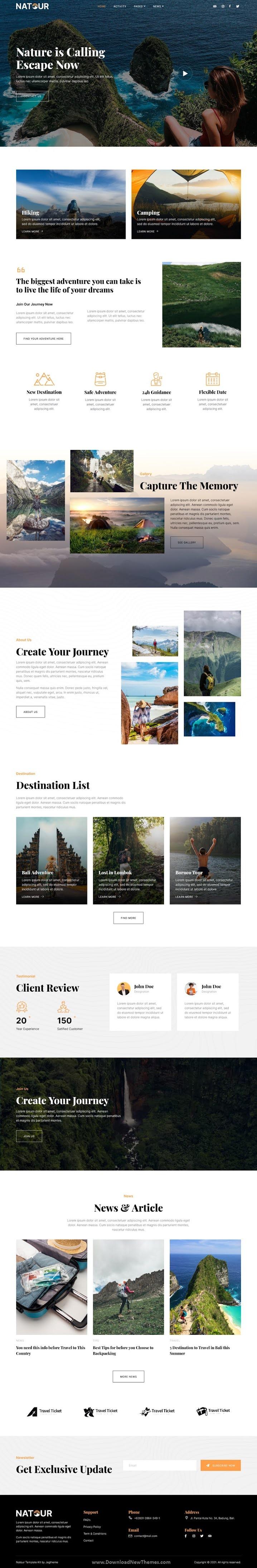 Adventure Travel & Tourism Elementor Template Kit