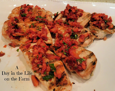 Grilled Chicken Breasts with Balsamic Strawberry Basil Salsa
