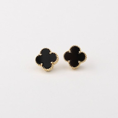 four-leaf-clover-shaped-black-onyx-earrings-suppliers-in-China