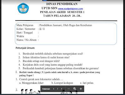 Soal PAS Kelas 2 PJOK Semester 1 Kurikulum 2013
