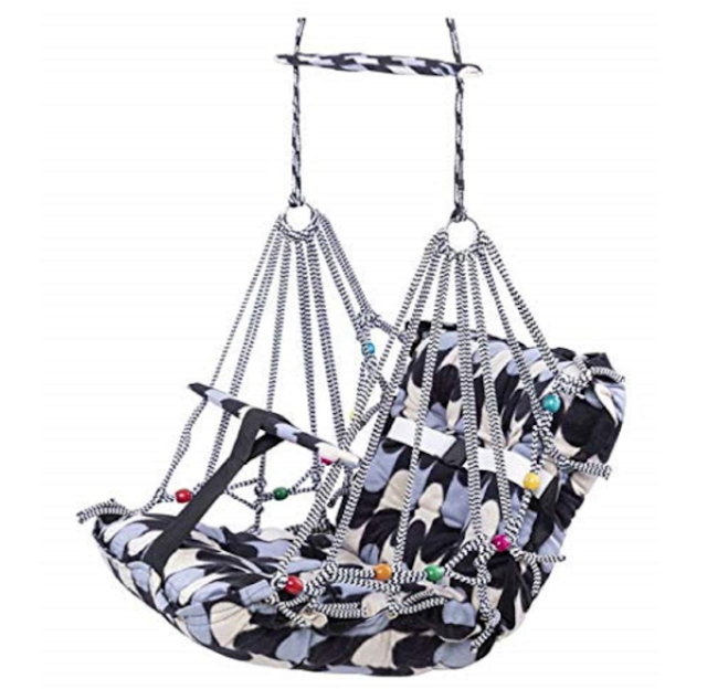 Royal Peafowl Cotton Swing for Kids Baby's Children Folding and Washable 1-3 Years with Safety Belt Home Garden Jhula for Babies for Indoor Outdoor free 1 shank bottle