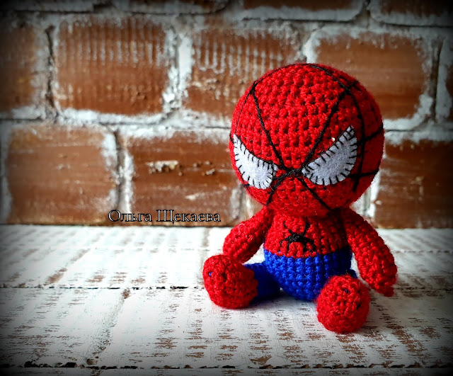 спайдермен, человекпаук, амигуруми, крючком, игрушка, супергерой,