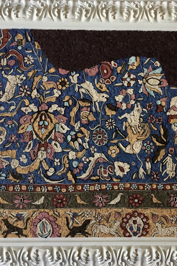 ornate quilled paper oriental rug