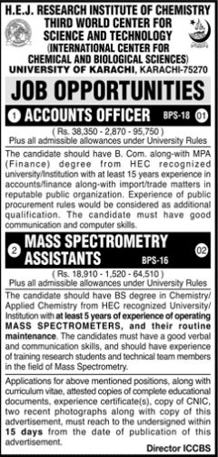 JOBS | H.E.J. Research Institute of Chemistry Third World Center for Science and Technology