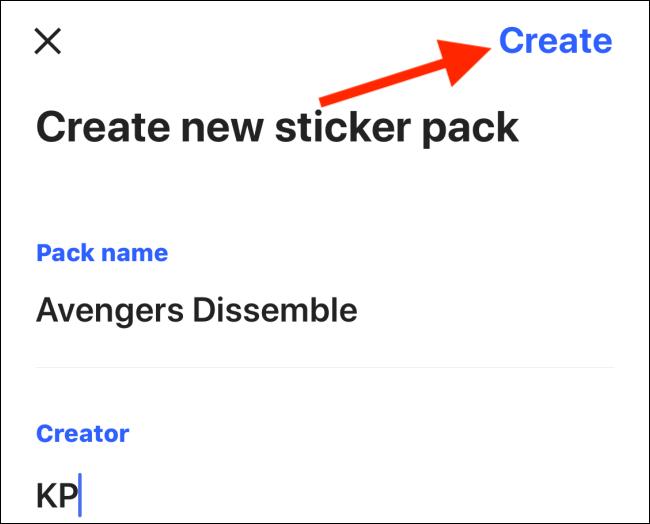 انقر على إنشاء لإنشاء حزمة ملصقات