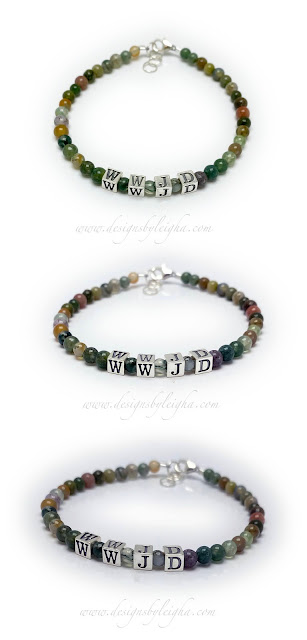 Fancy Jasper WWJD Gemstone Bracelet with a Lobster Claw Clasp with an extension to fit sizes small to large.