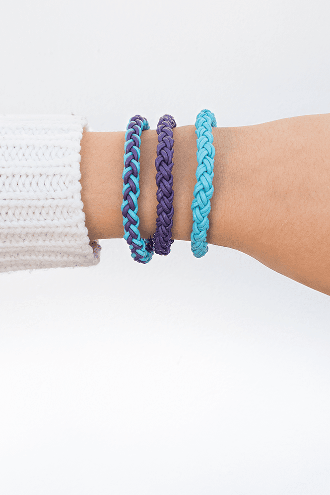 Learn How to Make a 4 Strand Round Braid and Create These Braided Leather Friendship Bracelets - Curly Made #diy #crafts #bracelets