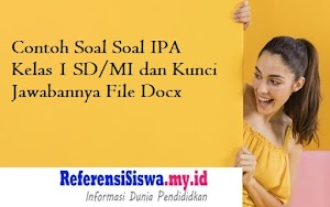 Contoh Soal Soal IPA Kelas 1 SD/MI dan Kunci Jawabannya File Docx