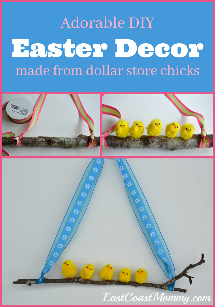 Below, You Can See How Simple It Was For Me To Make DIY Easter Decor From  Dollar Store Chicks, Some Scrap Ribbon, And Sticks My Boys Picked Up In Our  ...