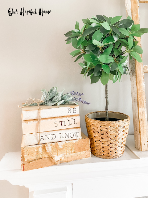 DIY Be Still And Know book bundle leaf topiary