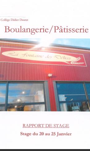 rapport de stage 3eme pdf boulangerie patisserie