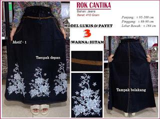 Rok jeans panjang model payet 3 - Cantika hitam