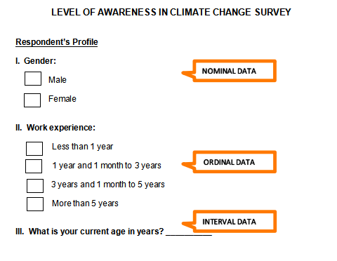 "alt=""interval data and data analysis. Example of survey questionnaire"""