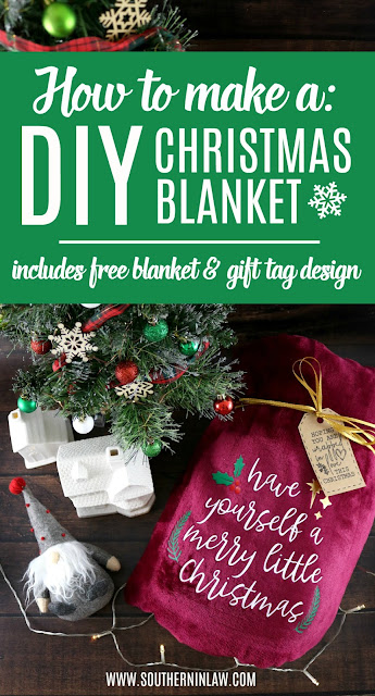 DIY Christmas Blanket with the Cricut Maker - Siser Easyweed Projects, How to Press HTV onto a Polyester Fleece Blanket, Cricut Blanket Tutorial, Cheap DIY Christmas Gifts, Best Handmade Christmas Gifts