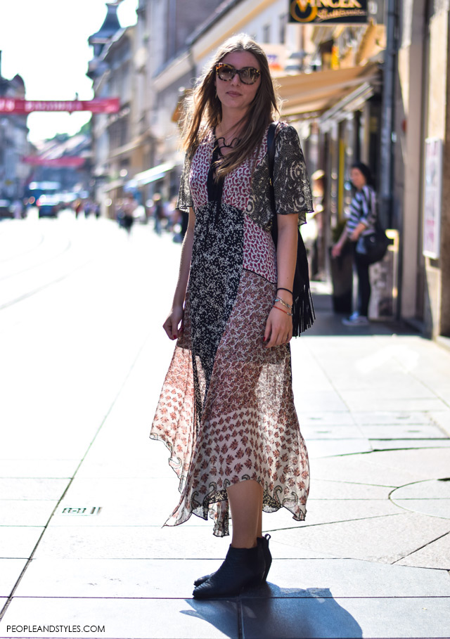 Zagreb street style 2015, How to wear boho dress, backpack with fringes and ankle boots, street style summer outfit inspiration, designer sunglasses, Martina Babić