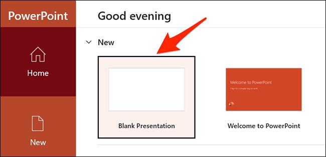 """حدد """"عرض تقديمي فارغ"""" في نافذة PowerPoint."""