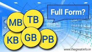 KB MB GB TB PM ka fulll form in Hindi