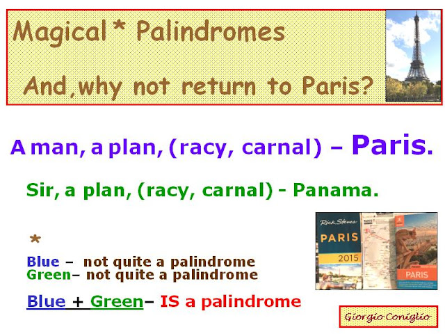 palindromes; novelty; canals; Paris; Panama