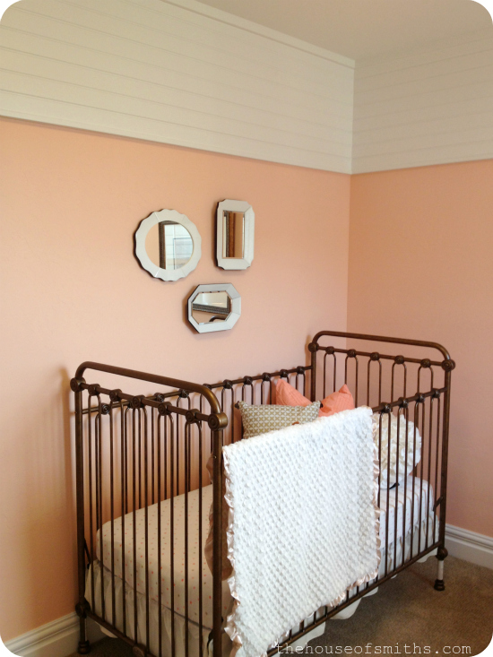 vintage baby nursery - peach gold and white - brass crib