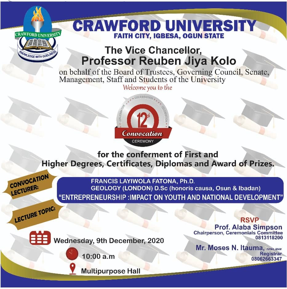 Crawford University 12th Convocation Ceremy Date 2020