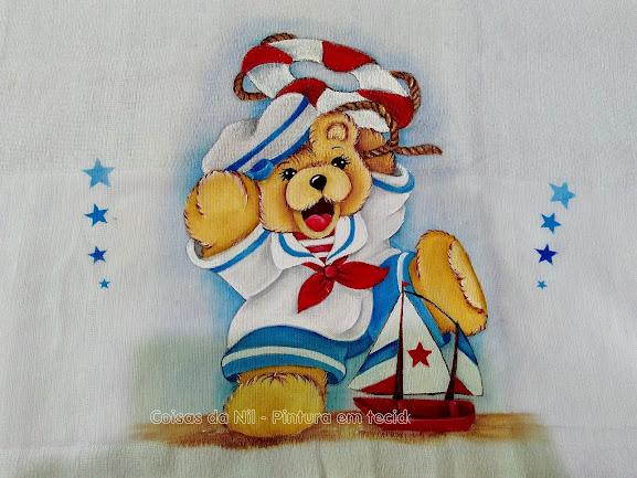 fralda pintada ursinho marinheiro